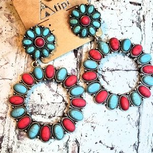Jewelry - Red & turquoise squash blossom earrings